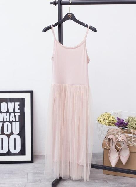[Chicever] Stylish Off Shoulder Summer Women Dress Female Loose Spaghetti Strap Mesh Ladies-Dresses-CHICEVER Official Store-pink-EpicWorldStore.com