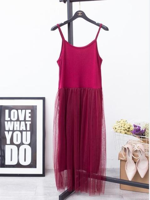 [Chicever] Stylish Off Shoulder Summer Women Dress Female Loose Spaghetti Strap Mesh Ladies-Dresses-CHICEVER Official Store-red-EpicWorldStore.com