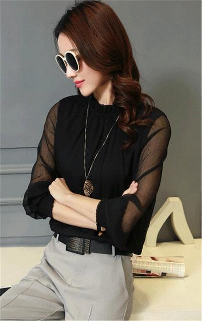 Chiffon Blouse New Women Tops Long Sleeve Stand Neck Work Wear Shirts Elegant Lady Blouses-Blouses & Shirts-AAZZ-32746 black-M-EpicWorldStore.com