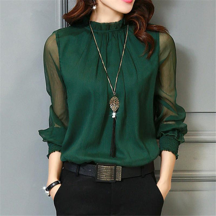 Chiffon Blouse New Women Tops Long Sleeve Stand Neck Work Wear Shirts Elegant Lady Blouses-Blouses & Shirts-AAZZ-32746 green-M-EpicWorldStore.com