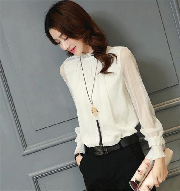 Chiffon Blouse New Women Tops Long Sleeve Stand Neck Work Wear Shirts Elegant Lady Blouses-Blouses & Shirts-AAZZ-32746 white-M-EpicWorldStore.com