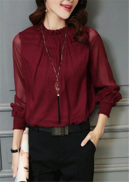 Chiffon Blouse New Women Tops Long Sleeve Stand Neck Work Wear Shirts Elegant Lady Blouses-Blouses & Shirts-AAZZ-32746 wine-M-EpicWorldStore.com