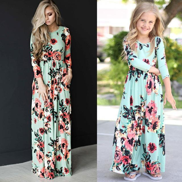 52094be2951b5 Chifuna Mother Daughter Bohemian Maxi Dress Family Matching Outfits Mommy  And Me Floral