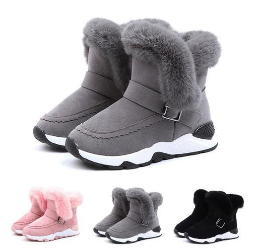 Children Boots Shoes Winter Plush Warm Fashion Leather Soft Fleece Antislip Boots-Boots-Luna&Louie Official Store-Black-26-EpicWorldStore.com