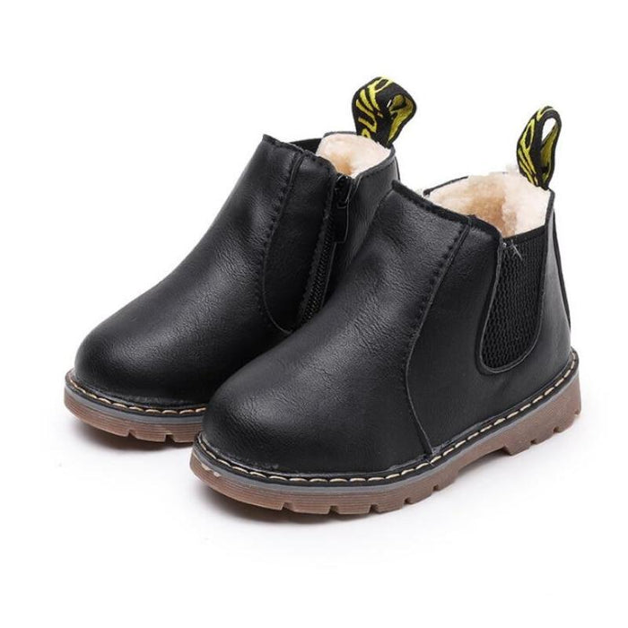 Children Fashion Boots Winter Wool With Zipper Snow Boots Warm Pu Leather Baby Kids-Boots-Tang Far Official Store-black-1-EpicWorldStore.com