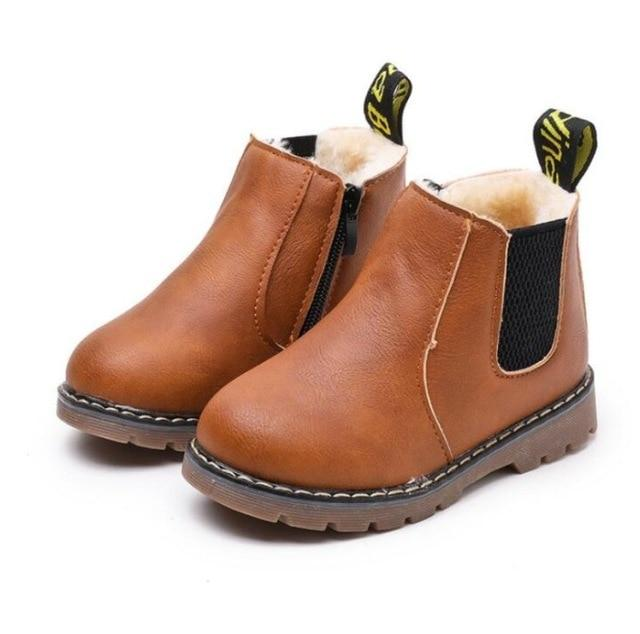 Children Fashion Boots Winter Wool With Zipper Snow Boots Warm Pu Leather Baby Kids-Boots-Tang Far Official Store-brown-1-EpicWorldStore.com