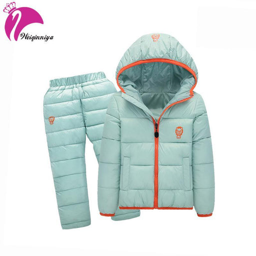 Children Set Boys Girls Clothing Sets Winter Hooded Down Jackets+Trousers Waterproof Thick Warm-Boys Clothing-BiYiMall-Blue-2T-EpicWorldStore.com