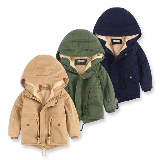 Children Winter Fleece Outdoor Jackets for Boys Hooded Warm Outerwear Casual-Down & Parkas-Shop3657038 Store-FC374-Khaki-2T-EpicWorldStore.com