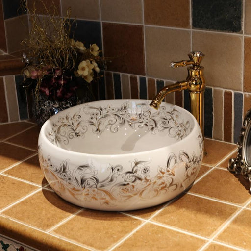 China Artistic Handmade Counter Top Basin Sink Handmade Ceramic Bathroom Vessel Sink Vanities-Bathroom Sinks-Ceramic art Bathroom sinks Store-EpicWorldStore.com