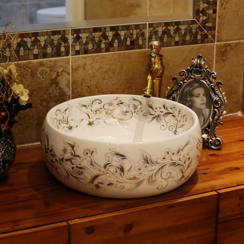 China Artistic Handmade Counter Top Basin Sink Handmade Ceramic Bathroom  Vessel Sink Vanities