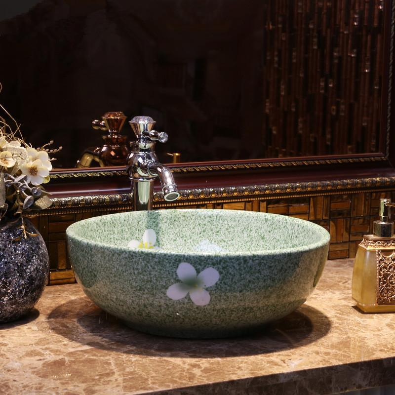 China Painting Green Ceramic Art Basin Sink Counter Top Wash Basin Bathroom  Vessel Sinks Vanities