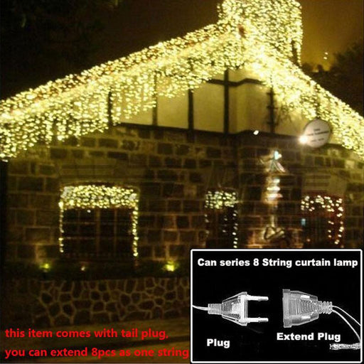 Christmas Lights Outdoor Decoration 4.5M Droop 0.3-0.4-0.5M Led Curtain Icicle String Light New Year-Holiday Lighting-WHATOOK Store-Blue 220V-EpicWorldStore.com