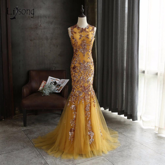 Cic Gold Aso Ebi Long Mermaid Prom Dresses Abendkleider African Prom Gowns  Plus Size Formal Party