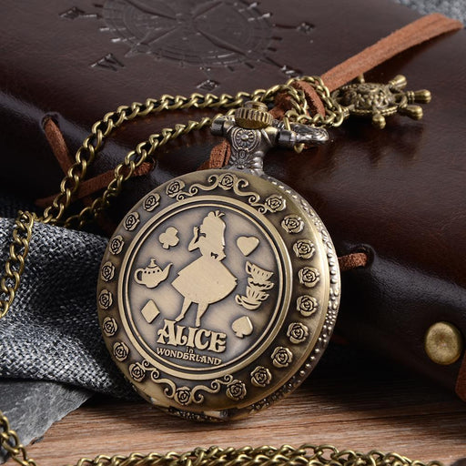 Cindiry Retro A In Wonderland Theme Bronze Quartz Pocket Watches Vintage Fob Watches Christmas-Pocket & Fob Watches-Moroccolove Store-EpicWorldStore.com