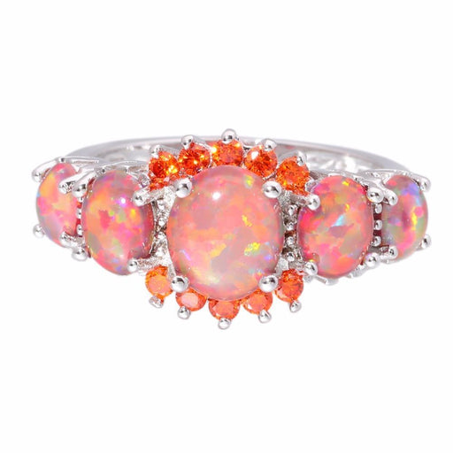 Cinily Orange Fire Opal Orange Garnet Silver Plated Ring Wholesale Wedding Party Gift For Women-Wedding & Engagement Jewelry-CiNily Official Store-5-EpicWorldStore.com