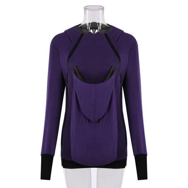 Clearance Baby Carrier Jacket Kangaroo Outerwear Hoodies &Sweatshirts Coat For Pregnant Women-Hoodies & Sweatshirts-Ladies Clothing Boutique-Purple-XXXL-EpicWorldStore.com