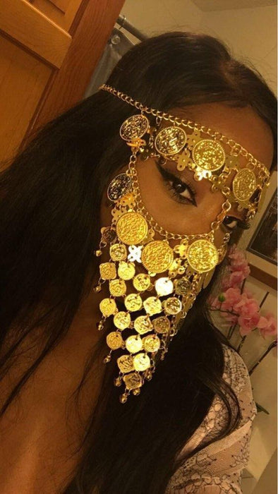 Clearance Belly Dance Costume Headwear Coins Face Mask Veil Tribal Arab African Egypt Gold Plated-Stage & Dance Wear-Moon Dance Store-Rhinestone-EpicWorldStore.com