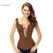 Clearance Charmian Faux Leather Corset Stylish Brown Zipper Steampunk Corset Overbust Lace Up Back-Bustiers & Corsets-Charmian Official Store-Brown-XL-EpicWorldStore.com