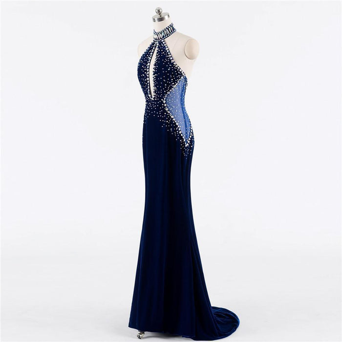 Clearance Dark Blue Prom Dresses Mermaid Halter Beaded Crystals Velvet Backless Women Long Prom Gown-Prom Dresses-Shop1851631 Store-same as the photo-6-EpicWorldStore.com