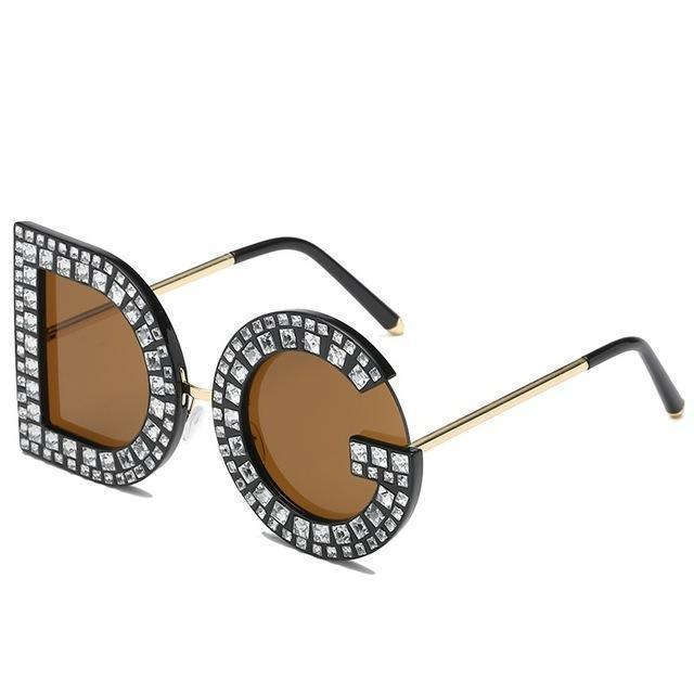 Clearance Diamond D And G Round Sunglasses New Women Square Luxury Brand Crystal Sun Glasses-BENESSE Store-Brown-EpicWorldStore.com