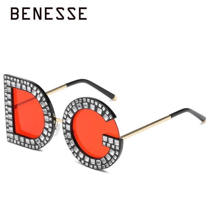 Clearance Diamond D And G Round Sunglasses New Women Square Luxury Brand Crystal Sun Glasses-BENESSE Store-Clear-EpicWorldStore.com