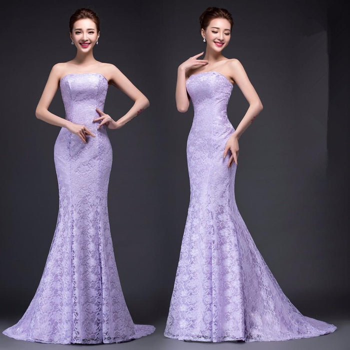 Clearance Dm2670B# Spring Summer New Fish Lace Up Tail Stylish Long Bride Toast Wedding Party Dress-Wedding Party Dress-WY.QJR.FZ Official Store-White Without Tail-8-EpicWorldStore.com