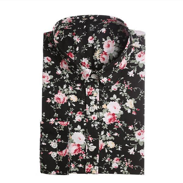 Clearance! Floral Women Shirts Long Sleeve Shirt Women Tops Cotton Blusas Femininas Turn-Down Collar-Blouses & Shirts-Fashion Fairy-Blackfolral-S-EpicWorldStore.com