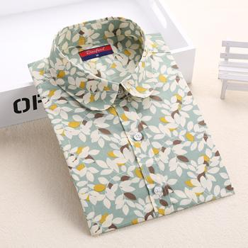 Clearance! Floral Women Shirts Long Sleeve Shirt Women Tops Cotton Blusas Femininas Turn-Down Collar-Blouses & Shirts-Fashion Fairy-Greenl-S-EpicWorldStore.com