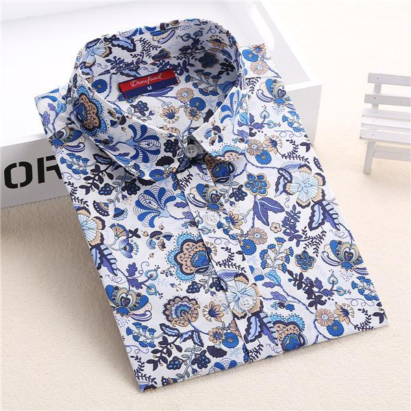 Clearance! Floral Women Shirts Long Sleeve Shirt Women Tops Cotton Blusas Femininas Turn-Down Collar-Blouses & Shirts-Fashion Fairy-Navydaisy-S-EpicWorldStore.com