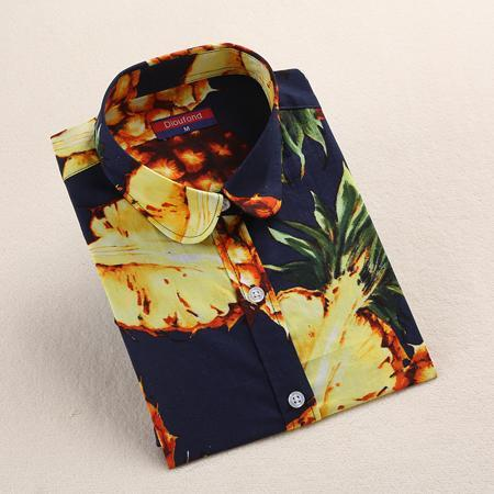 Clearance! Floral Women Shirts Long Sleeve Shirt Women Tops Cotton Blusas Femininas Turn-Down Collar-Blouses & Shirts-Fashion Fairy-Navypine-S-EpicWorldStore.com