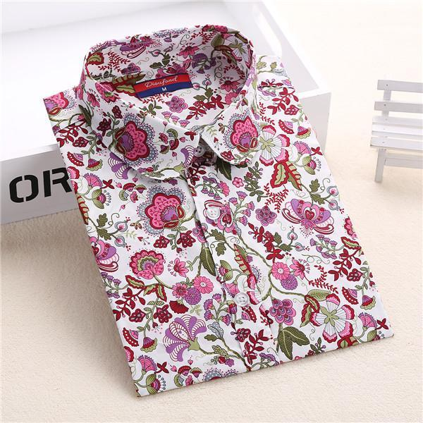 Clearance! Floral Women Shirts Long Sleeve Shirt Women Tops Cotton Blusas Femininas Turn-Down Collar-Blouses & Shirts-Fashion Fairy-pink daisy-S-EpicWorldStore.com