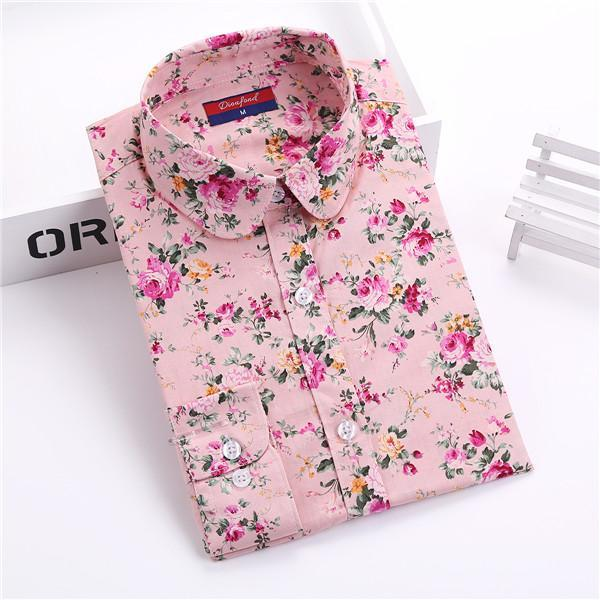 Clearance! Floral Women Shirts Long Sleeve Shirt Women Tops Cotton Blusas Femininas Turn-Down Collar-Blouses & Shirts-Fashion Fairy-pink floral-S-EpicWorldStore.com