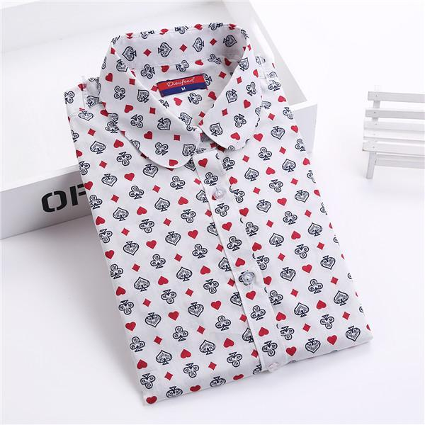Clearance! Floral Women Shirts Long Sleeve Shirt Women Tops Cotton Blusas Femininas Turn-Down Collar-Blouses & Shirts-Fashion Fairy-poker-S-EpicWorldStore.com