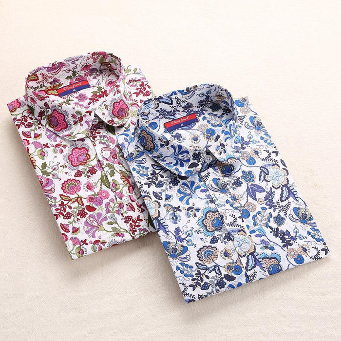 Clearance! Floral Women Shirts Long Sleeve Shirt Women Tops Cotton Blusas Femininas Turn-Down Collar-Blouses & Shirts-Fashion Fairy-Smallf-S-EpicWorldStore.com