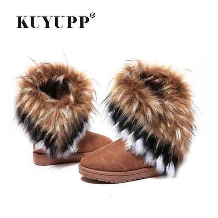 Clearance Kuyupp Women Flat Ankle Snow Boots Fur Boots Winter Warm Snow Shoes Round-Toe Female Flock-Women's Shoes-KUYUPP -N1- Store-Black-8.5-EpicWorldStore.com