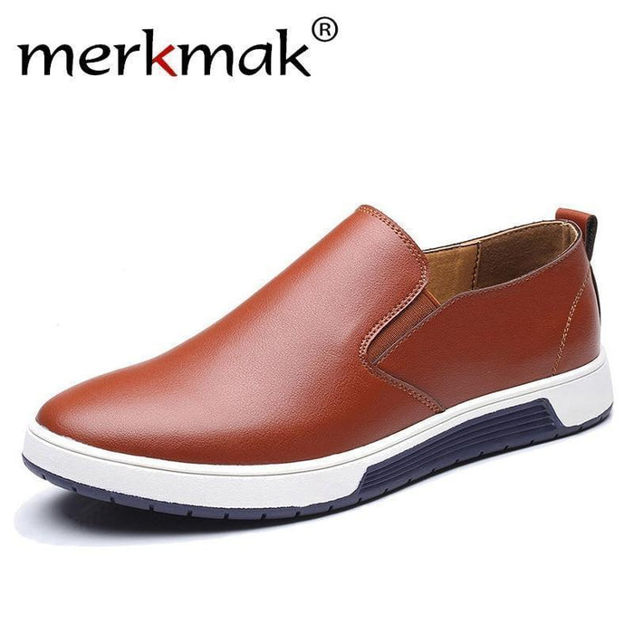 Clearance Merkmak Big Size 37-48 Autumn Men Leather Loafers Slip On Casual Shoes For Mens-Men's Casual Shoes-merkmak Official Store-Orange Brown Casual Shoes-10-EpicWorldStore.com