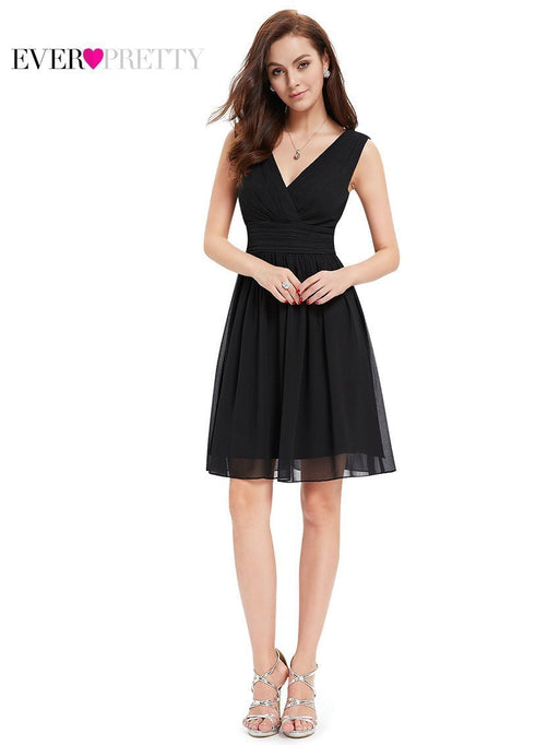 [Clearance Sale] Cocktail Dresses He03989 Ever Pretty Double V-Neck White Short Stylish-Cocktail Dresses-Ever Pretty official store-Black-10-EpicWorldStore.com
