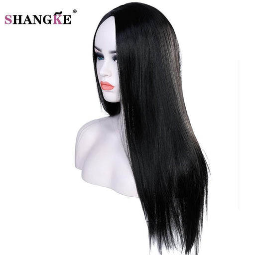 Clearance Shangke 22 Inch Long Straight Black Wig Hairstyles Heat Resistant Synthetic Wigs For Women-Shop2178032 Store-#2-EpicWorldStore.com