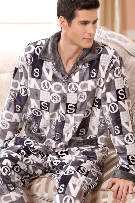 Clearance Susandick New Winter Pajamas Men Thick Fleece Pajama Sets Luxury Warm Sleepwear Plaid-Men's Pajama Sets-Bestlove Store-Plaid Red Line-L-EpicWorldStore.com