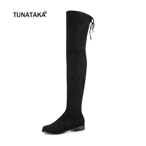 Clearance Thigh High Boots Female Winter Boots Women Over The Knee Boots Flat Stretch Stylish Shoes-Women's Shoes-TUNATAKA Official Store-Black-10.5-EpicWorldStore.com