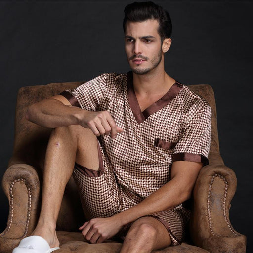 Clearance Thoshine Spring Summer Autumn Men Satin Silk Pyjamas Set Of T-Shirt & Shorts Male-Sleep & Lounge-Future Online Store-Light Purple-L-EpicWorldStore.com