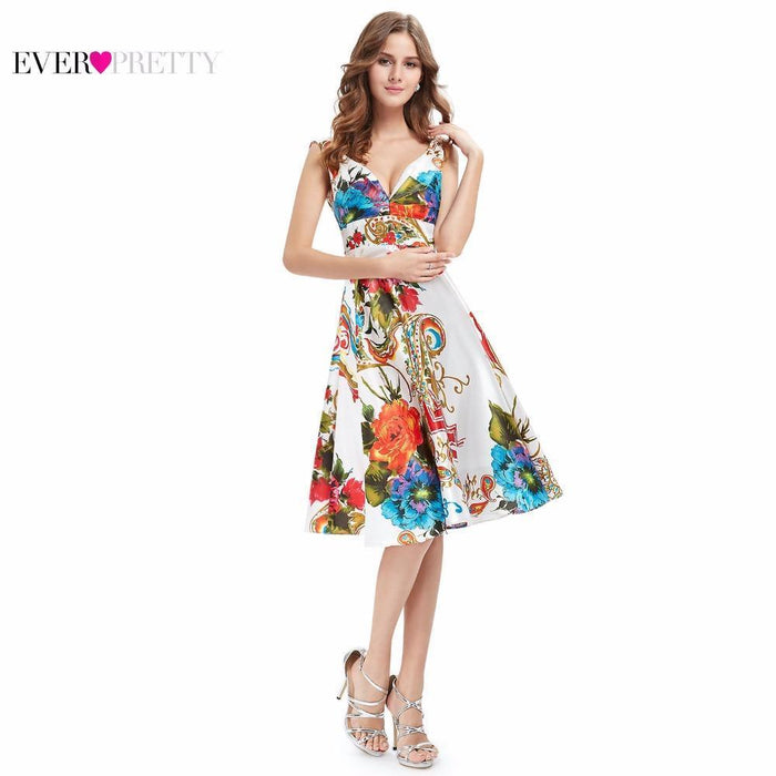 d2add350a613 Cocktail Dresses Ever Pretty Ep03381 New Girl S Double V-Neck Floral Print  Satin Summer Dress