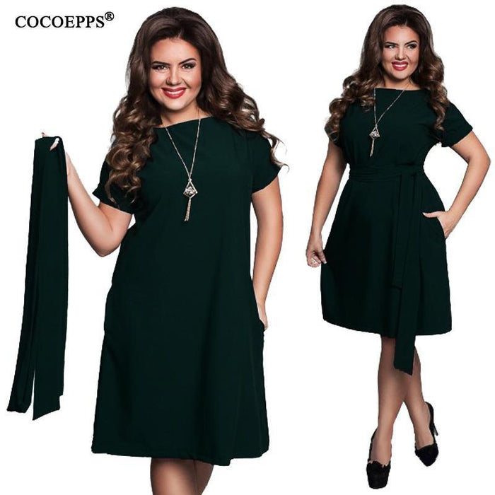Cocoepps Elegant Casual Women Blue Dresses Big Sizes New Plus Size Women Clothing Summer-Dresses-COCOEPPS Official Store-01-L-EpicWorldStore.com