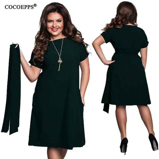 Cocoepps Elegant Casual Women Blue Dresses Big Sizes New Plus Size Women Clothing Summer-Dresses-COCOEPPS Official Store-02-L-EpicWorldStore.com