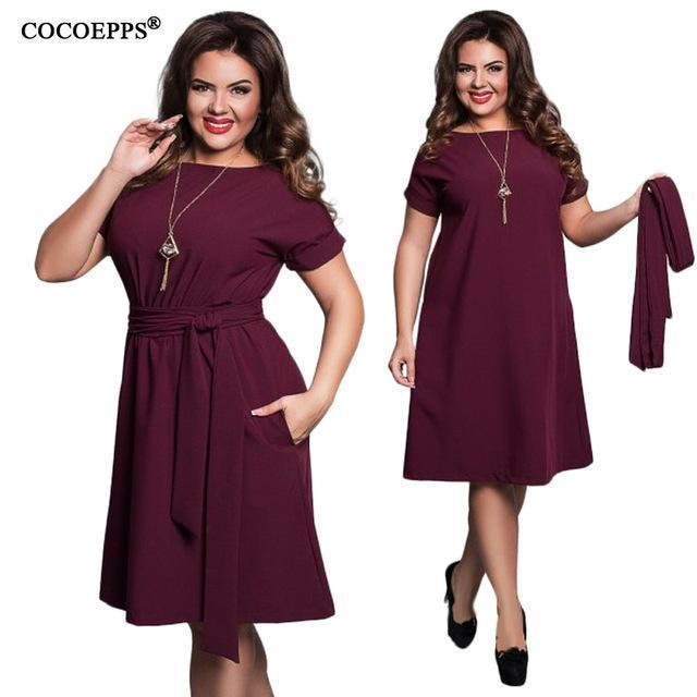 Cocoepps Elegant Casual Women Blue Dresses Big Sizes New Plus Size Women Clothing Summer-Dresses-COCOEPPS Official Store-03-L-EpicWorldStore.com
