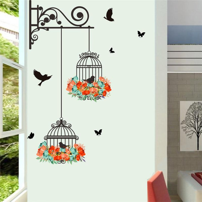 colorful flower birdcage wall sticker decals flying birds plants