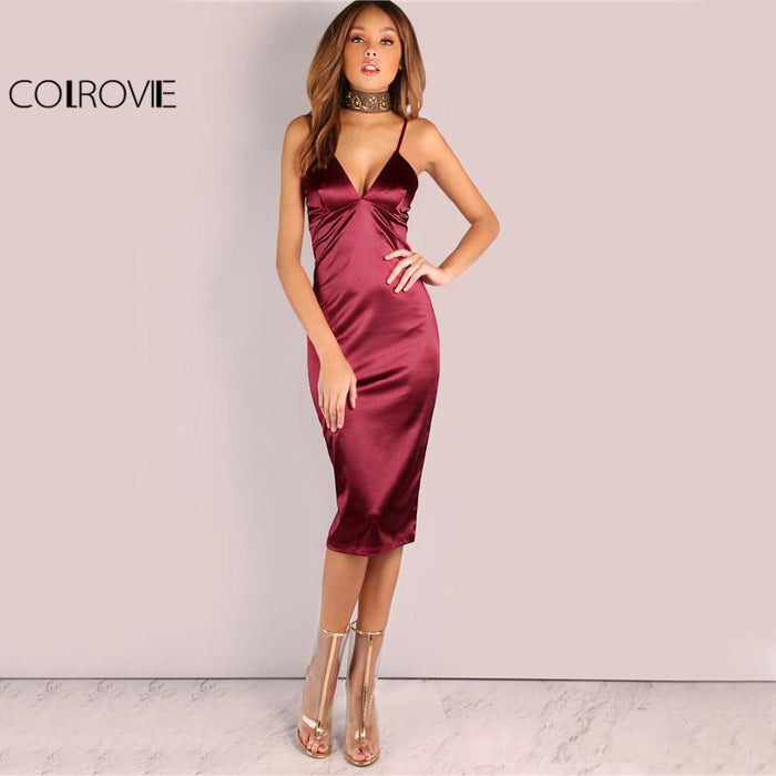 Colrovie Burgundy Satin Party Club Dress Deep V Neck Women Summer Dresses Stylish Bodycon Strap-Dresses-COLROVIE Official Store-XS-EpicWorldStore.com