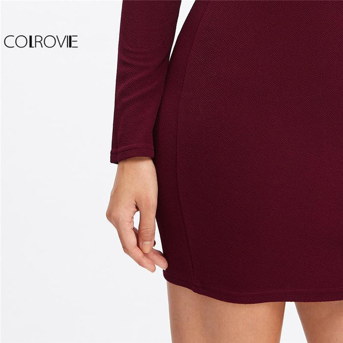 Colrovie Long Sleeve Mini Dress Womens Autumn Winter Dresses Women Stylish Party Burgundy Off-Dresses-COLROVIE Official Store-XS-EpicWorldStore.com
