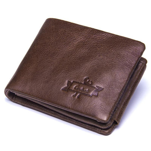Contact'S Genuine Crazy Horse Leather Men Wallets Vintage Trifold Wallet Zip Coin Pocket Purse-ContactS Official Store-EpicWorldStore.com
