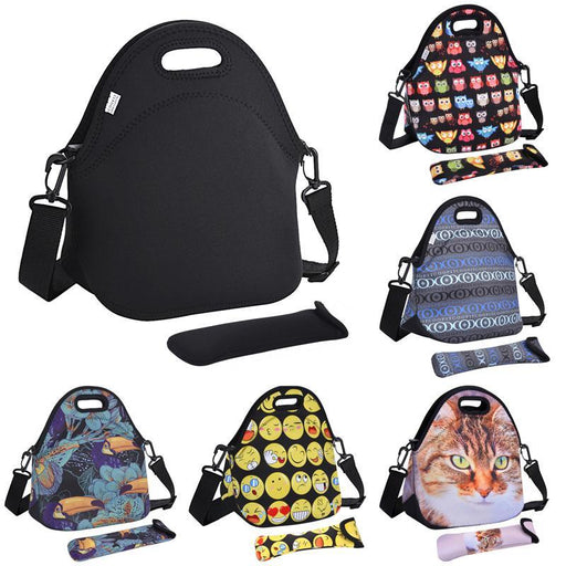 Coofit Owl Cat Emoji Face Pattern Lunch Bags Waterproof Neoprene Picnic Handbag With Tableware-Functional Bags-coofit Official Store-Black-EpicWorldStore.com